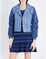 Sandro Satin-sleeved leather jacket