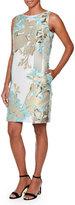 Piazza Sempione Sleeveless Fil Coupe Sheath Dress, Aqua/Taupe