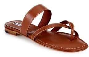 Manolo Blahnik Leather Crisscross Slides