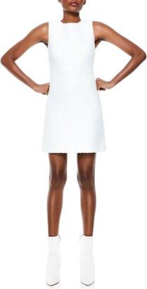 Alice + Olivia Coley Sleeveless Tweed A-Line Dress