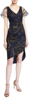 Marchesa Flocked Glitter Tulle Flutter-Sleeve Asymmetric Dress