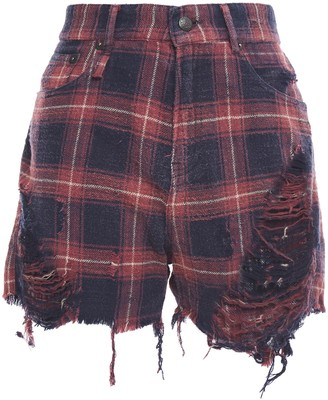 R 13 Distressed Checked Cotton-flannel Shorts