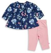 Offspring Baby Girls Two-Piece Floral Peplum Top and Pinstripe Pants Set