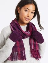 Marks and Spencer Checked Scarf & Gloves Set