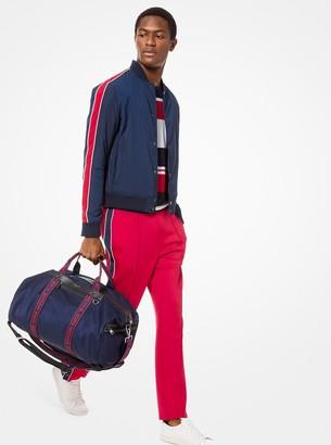 Michael Kors Stripe-Sleeve Nylon Baseball Jacket