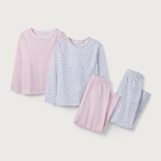 The White Company Heart & Stripe Pyjamas Set of 2 (1-12yrs), White/Pink, 7-8yrs