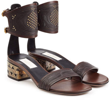 Valentino Embossed Leather Sandals with Stud Embellishment