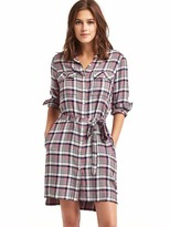 Gap Plaid tie belt shirtdress
