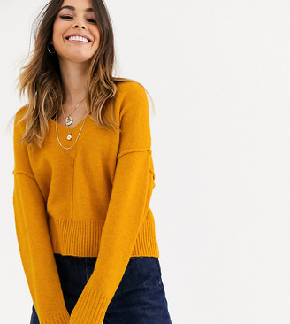 Miss Selfridge v-neck jumper in yellow-Brown