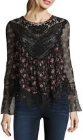 Self Esteem Long Sleeve Round Neck Mesh Floral Blouse-Juniors