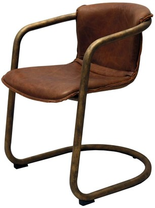 Bisque Leather And Bronze Dining Chair