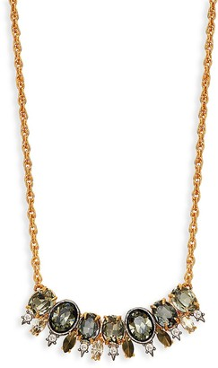 Alexis Bittar Goldplated Pyrite Crystal Bar Pendant Necklace