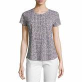 Liz Claiborne Short Sleeve Scoop Neck T-Shirt-Womens Talls