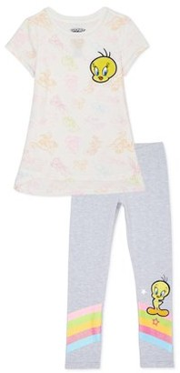 Looney Tunes Tweety Bird Exclusive Graphic Tee and Legging, 2-Piece Outfit Set, Sizes 4-16