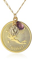 "A.V. Max Horoscope"" Aquarius Coin and Teardrop Stone Pendant Necklace, 36"""