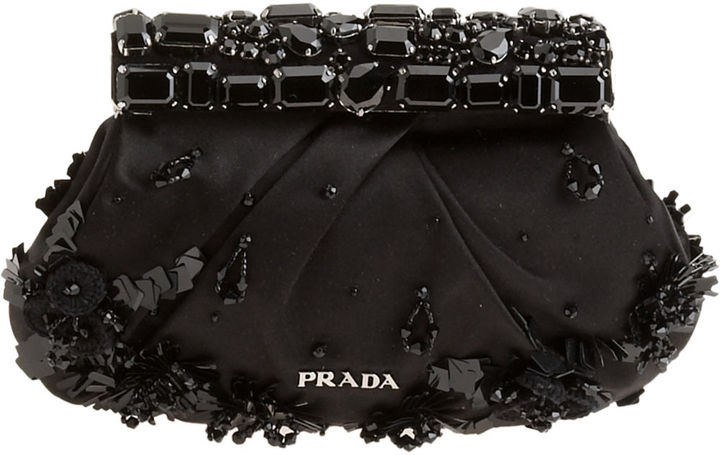 Prada Stones Clutch - Black