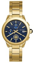 Tory Burch Collins Watch, Gold-Tone Stainless Steel/Navy Chronograph, 38mm