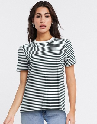 Selected perfect short sleeve stripe t-shirt in dark green