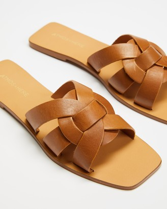 Atmos & Here Atmos&Here - Women's Brown Flat Sandals - Soleil Leather Sandals - Size 6 at The Iconic