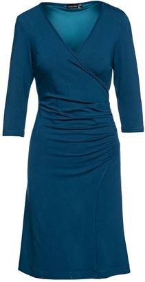 Conquista Faux Wrap Dress In Sustainable Fabric Dark Petrol Color
