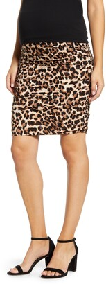 Angel Maternity Ruched Leopard Print Maternity Skirt