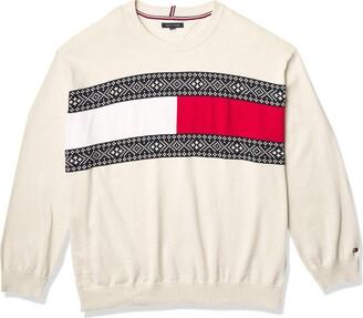 Tommy Hilfiger Men's Big & Tall Tommy Flag Crewneck Sweater