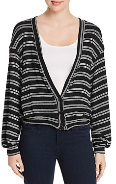 Red Haute Striped Knit Cardigan