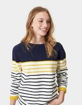 Joules Womens Seaham Chenille Round Neck & Long Sleeve Jumper in Caramel Stripe