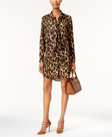 MICHAEL Michael Kors Animal-Print Tie-Neck Shirtdress