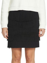1 STATE 1.State Ponte Tiered and Fringed Mini Skirt