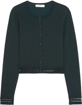 Sandro Crochet-trimmed stretch-knit cardigan