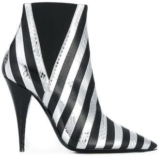 Saint Laurent Kiki snakeskin effect striped boots