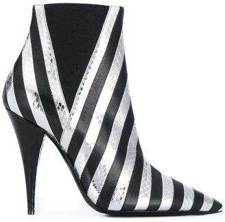 Saint Laurent Kiki snakeskin effect striped boots