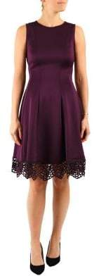 Donna Ricco Pleated Fit-&-Flare Scuba Dress