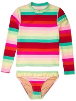 J.Crew Crewcuts By crewcuts by Long Sleeve Multi Stripe Ruffle Bottoms Rashguard Set (Toddler/Little Kids/Big Kids) (Red/Green Multi) Girl's Pajama Sets