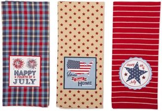 Design Imports 4th of July Embroidered KitchenTowel Set of 3