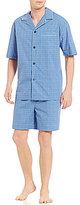 Roundtree & Yorke Woven Plaid Notch-Collar Short-Sleeve Shirt & Shorts Pajama Set