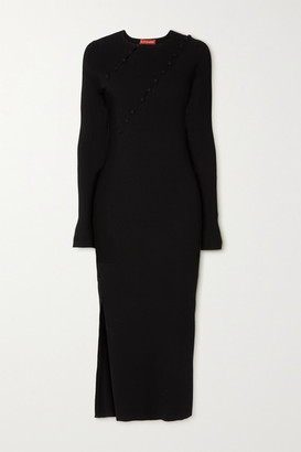 Altuzarra Evelyn Button-embellished Cutout Ribbed-knit Midi Dress - Black