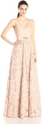 Adrianna Papell Women's Sleeveless Tulle Chiffon Petal Gown