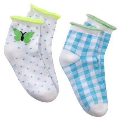 Xhilaration Girls 2-Pack Butterfly Anklet Sock - Cinnamon