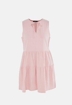 Missguided Petite Blush Textured Sleeveless Tiered Smock Dress
