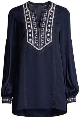 Kobi Halperin Sandi Embroidered Puff-Sleeve Silk Blouse