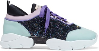 Emilio Pucci Glittered Smooth And Patent-leather Sneakers