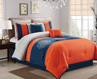 JBFF Oversize 7 Count Luxury Embroidery Bed Comforter Set