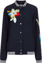 Mira Mikati Navy Sequin & Patch Bomber Jacket