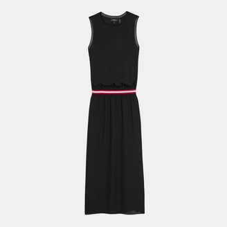 Theory Striped Midi Dress In Silk Combo