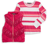 Planet Gold Girls 7-16 Sequined Puffer Vest and Striped Tee Set
