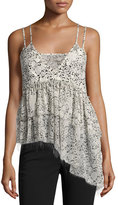 Cinq à Sept Clothing Yelena Floral Tiered Raw-Edge Camisole Top, Black/White