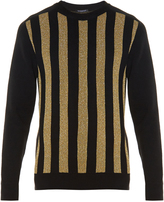 Balmain Striped crew-neck wool-blend sweater