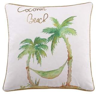 Vcny Home VCNY Home Tropical Coconut Beach Decorative Pillow, 18 x 18, White/Green